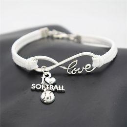 $enCountryForm.capitalKeyWord Australia - Fashion Bohemian Handmade White Leather Suede Rope Cuff Charm Bracelets & Bangles Infinity Love I Heart Softball Jewelry Gifts For Women Men
