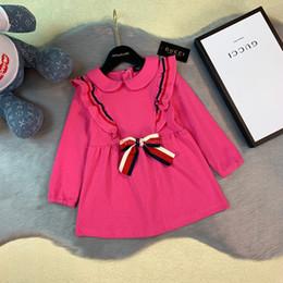 $enCountryForm.capitalKeyWord Australia - Girl dress kids designer clothing Spring autumn bow tie dress inner cotton fashion charm dresses