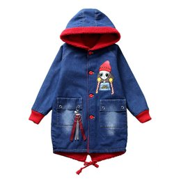 princess line winter long coats UK - 2019 Winter Denim Jackets for Girls Princess Long Section Children Jacket with Fleece Velvet Lining Warm Hoody Coat 6-16 Years