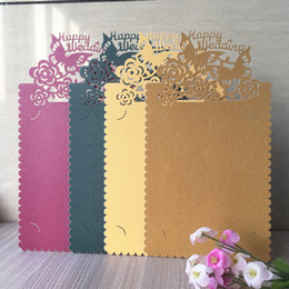 $enCountryForm.capitalKeyWord Australia - 35PCS  lot Hollow Laser Cut Wedding Invitation Cards Happy Wedding Custom Words Engagements Wedding Invitations Cards Supplies