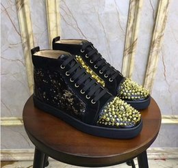 $enCountryForm.capitalKeyWord NZ - HOT Mens Womens 2019 NEWEST Real leather gold spikes PYTHON shoes hoes High Top Bottom Sneakers Brand Casual Shoes flat