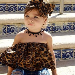 $enCountryForm.capitalKeyWord Australia - INS Stylish Newborn Girls Off Should Leopard Belt Tops Black Ruffles Bloomers 2pieces Suits Lovely Baby Girls Party Beach Outfits for 0-3T