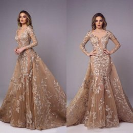 detachable bridal straps Australia - Tony Chaaya Vintage Mermaid Prom Dresses Gold Lace Appliqued Illusion Sexy Bridal Gowns Detachable Train Plus Size Party Evening Dresses