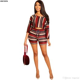 Quarter Suits Australia - 2019 new women colorful stripes three quarter sleeve tee top shorts suit two piece set bohemian beach tracksuit outfit Y8075