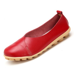 Comfortable Soft Women Shoes UK - Handmade Shoes 2019 Handmade Leather Women Plus Size Sewing Flats Loafers Ballet Flats Women Comfortable Soft Casual Shoes