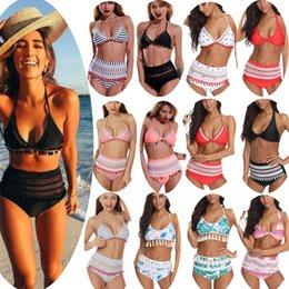 high neck mesh bikini 2019 - Best selling Swimsuits Mesh Split Bikini Sexy High Waist Hanging Neck 2019 Tassel Women Swimwear 14 Color Fashion Trends