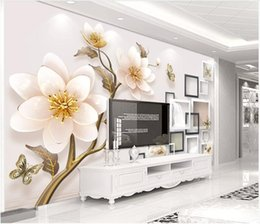 Houses wallpapers online shopping - WDBH d photo wallpaper custom mural Embossed jewel flower swan tv background home decor living Room d wall murals wallpaper for walls d