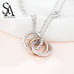 sa jewelry Canada - Sa Silverage 925 Sterling Silver Long Necklaces Pendants For Women Rose Gold Color Fine Jewelry 925 Silver Maxi Chokers Necklace J190612