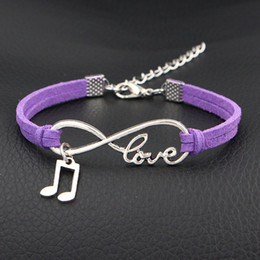 music note bangle NZ - 2019 Hand-Knitted Purple Handmade Leather Suede Infinity Love Music Note & Melody Wrap Cuff Charm Bracelet Bangles Fashion Women Men Jewelry