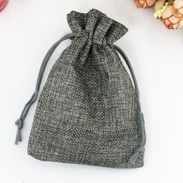linen packaging bags 2019 - 7*9cm 10pcs Vintage Style handmade Gray Jute bags Sacks Drawstring pouch gift bag favor Linen wedding jewelry Packaging