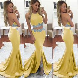 Back Two Piece Prom Dress Australia - 2019 Pretty Yellow Two Pieces Appliqued Front Split Prom Dress Mermaid Open Back Banquet Evening Party Gown Custom Made Plus Size Abendkleid