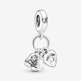 pandora baby Australia - Amala Jewelry Sterling Silver 925 Baby Bottle & Shoes Dangle Charm Bead with Cz Fits European Pandora Jewelry Bracelets Necklaces & Pendants