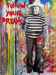 graffiti art canvas prints Australia - High Quality Handpainted & HD Print Banksy Graffiti Pop Art oil painting Follow your dreams On Canvas Home Decor Wall Art Multi Sizes g132