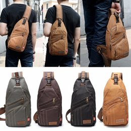 messenger shoulder bag canvas backpack NZ - Men Canvas Travel Hiking Crossbody Messenger Shoulder Chest Bag Sling Backpack School Bag