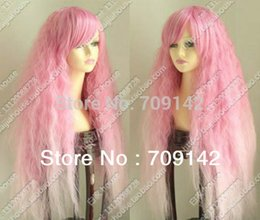 Discount long light blue cosplay wig - Wavy Curly no Lace Front Wigs Synthetic fibre queen wigs Girl Full Sexy curly Cos Light Pink Long plasma Heat-Resistant