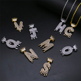 $enCountryForm.capitalKeyWord Australia - LuReen GOLD Crown Bail Drip Bubble N-Z Letters Pendant Necklace Iced Out CZ Necklace For Women Men Hip Hop Body Jewelry