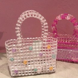 $enCountryForm.capitalKeyWord Australia - Ins Popular Bead Bag Transparent Hand-woven Pearl Celebrity Handbag Flower Unique Design Colourful Ladies Party Bag