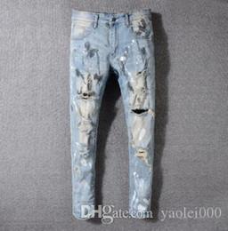 European Street Painting Australia - 2018 NEW European and American high street trend hole men's jeans light blue old paint feet trousers men