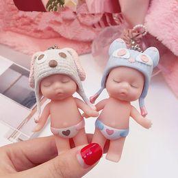 $enCountryForm.capitalKeyWord Australia - Cute Cartoon Sleeping Baby Doll Keychain PVC Lovely Animal Hat Baby Car Keyring Women Key Holder BagCharm Jewelry Gift Child Toy