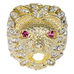 animal rings lions UK - 20pcs Lot Size 6-12 Gold Color Lion 's Head Shape Men Hip hop Rings Fashion Punk Rhinestone Animal Ring Jewelry Gifts