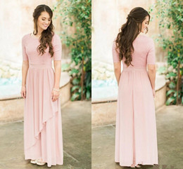 $enCountryForm.capitalKeyWord Australia - Dusty Rose Pink Boho Bridesmaid Dresses with Sleeve Lace Chiffon O-neck Full length Country Beach Junior Maid Of Honor Wedding Guest Gown
