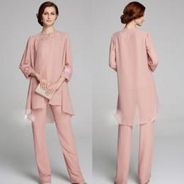 Long Chiffon Suit Australia - Modest Mother Of The Bride Pant Suits With Long Jackets Lace Bateau Neck Wedding Guest Dress Plus Size Chiffon Mothers Groom Dresses