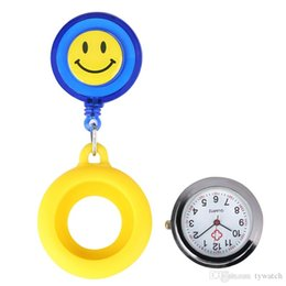 $enCountryForm.capitalKeyWord NZ - Functional Luminous Nurse Pocket Watches Yellow Silicone Ornamental Smiling Face Pendant Watch Retractable Rope with Stainless Steel Clip