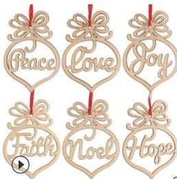 $enCountryForm.capitalKeyWord Australia - Creative Peace Love Christmas Decorations Wooden Ornament Xmas Tree Hanging Tags Pendant Decor 6pcs set
