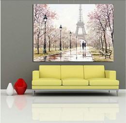 Canvas Print Paris Australia - City Couple Paris Eiffel Tower Landscape Abstract Oil Painting on Canvas Poster Print Wall Picture for Living Room
