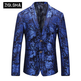 $enCountryForm.capitalKeyWord Australia - ZIOLOMA Luxury Royal Blue Sequin Dress Nightclub Shawl Collar Mens Suit Jacket