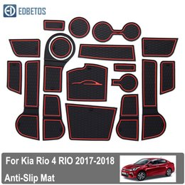 gate style Australia - RIO For Kia Rio 4 X-Line 2017-2019 rubber mat door mat anti-slip Cup pad Interior decoration accessory styling Gate slot pad