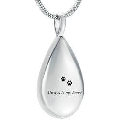 $enCountryForm.capitalKeyWord Australia - Always in my heart&Paw Print Engrave Teardrop Memorial Urn Necklace for Pet Dog Cat Ashes Holder, Pet Loss Keepsake Jewelry
