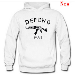 Discount taser guns - Free Shipping New Cotton Men DEFEND Hoodie Sweatshirts Autumn Spring Hooded Hoodies Hip Hop Casual Pullovers Tops Clothi