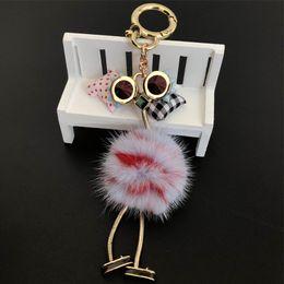 $enCountryForm.capitalKeyWord Australia - -Genuine Real Fur Ostrich Monster Robot Doll Toy Charm Fur Pompom Ball Bag Charm Key Chain Keyring bag car phone Accessories