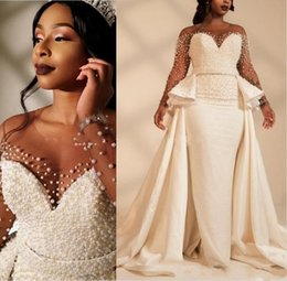 e4b731335e48a White Luxury Pearl Beading Mermaid Wedding Dress 2019 South African Black  Girls Long Sleeve Country Bride Bridal Gowns Custom Made Plus Size