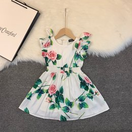 sleeveless pleated chiffon vest dress skirt 2020 - Fashion Princess Skirt Children's Garment Classic vest dress Round neck short sleeve printed Elastic waist 032801 c