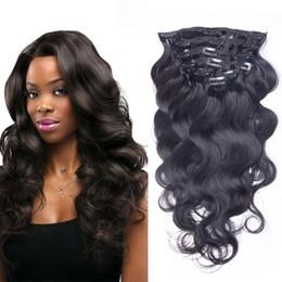 Discount virgin brazlian hair - Brazlian Body Wave Water Wave Clip In Hair Extensions 7pieces set Unprocessed Human Hair Clip In Virgin Hair Full Head N