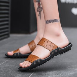 Slippers Summer Shoes Adult Australia - 2019 Men's slides summer cow genuine leather slippers outside black fashion Leisure man shoes Beach Soft Casual adult Sandals