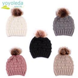 d86e6b44901cb8 Cute Toddler Kids Boy Hat Baby Infant Warm Cap Winter Wool Hat Knit Beanie  Fur Pom Pom For Girls Childrens Drop Shipping