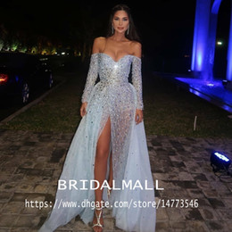 Vintage black eVening gown online shopping - Aso Ebi Arabic Sparkly Sexy Evening Dresses Beaded Sequins Long Sleeves Prom Dresses High Split Formal Party Bridesmaid Pageant Gowns