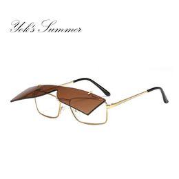 6578eae398c Yok s Flip Up Clip On Sunglasses Classic Green Brown Lens Rectangle Rimless  Sun Glasses Men Metal Frame Yellow Shadow Occhiali HN1119