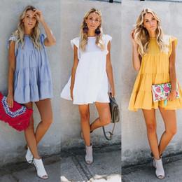 $enCountryForm.capitalKeyWord Australia - Casual Dress for Womens Summer Knee Length Girls White Vintage Beach Wed Dresses Simple Stretch Party Solid Color Cake Skirt Designer Dress