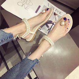 $enCountryForm.capitalKeyWord Australia - Pretty2019 Shoes Women's Posimi Second Toe Pearl Flat Bottom Woman Rome Sandy Beach Sandals
