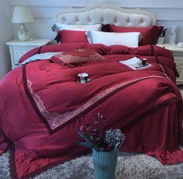$enCountryForm.capitalKeyWord Australia - 2019 Home Textiles European Style Luxury 100 Cotton red wedding 4PCS Bedding set King Queen Size Duvet Cover bed sheet Spring and Summer