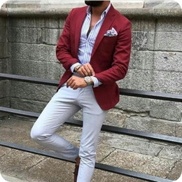 suits designs for groom Australia - Latest Designs Burgundy Man Business Suits Male Blazers Groom Tuxedo Men Suits for Wedding 2Piece Coat Pants Slim Fit Casual Terno Masculino