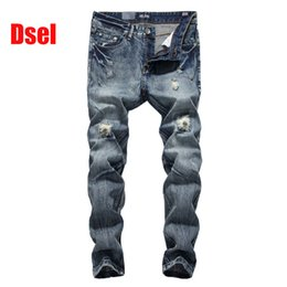 dsel jeans NZ - 2019 New Hot Sale Fashion Men Jeans Dsel Brand Straight Fit Ripped Jeans Italian Designer Distressed Denim Jeans