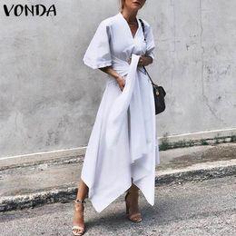 Summer Street Fashion Vintage Dresses Australia - Vonda Fashion 2019 Summer Dress Vintage Long Maxi Dress Women Short Sleeve Sexy V Neck Asymmetrical High Waist Party Vestidos J190529
