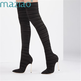 8f97a937366 Boots Women Elastic Cloth Pointed Toe Short Plush Warm Comfortable Rome  Style Thigh High Boots Black Champagne Red MAZIAO