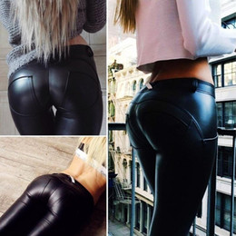 Wholesale tight black leather pants women for sale - Group buy 2020 Elastic Black Hot Ass Hip PU Pants Leggings Clothing Clothes PU Tight Leather Yoga Winter Womens
