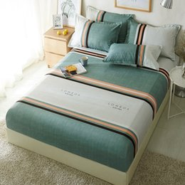 Elastic Beds UK - 1pcs Polyester Geometric Striped Gray Green Bed Sheet Bedding Fitted Sheets Mattress Cover Bedspreads With Elastic Band Bedsheet